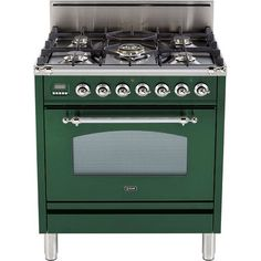 "ILVE 30""- Nostalgie 5 Burner Gas Range - Convection Oven & Infrared Broiler Finish: Emerald Green, Gas Type: Natural Gas"