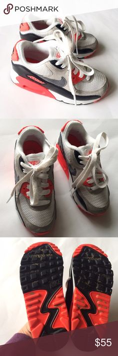 NIKE Air Max [boys] White orange Sneakers Shoes ***Reasonable offers please*** Nike Air Max sneakers in size 11 boys. White and orange. These are in nice condition. Some dirt on bottoms. Nike Shoes Sneakers