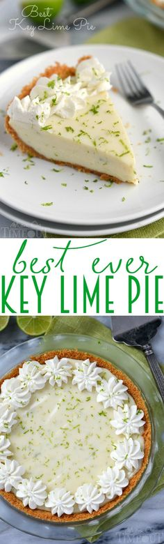 The Best Key Lime Pie recipe EVER! OK, after making this pie for my husband's birthday.I am deleting all of my other key lime pie pins. This IS the best key lime pie recipe. Lime Recipes, Sweet Recipes, Easy Recipes, Key Lime Pie Rezept, Pie Dessert, Dessert Recipes, Dessert Ideas, Best Key Lime Pie, Key Lime Pie Recipe From Scratch