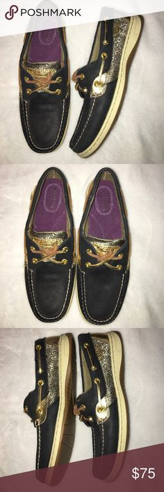 NEW, NEVER BEEN WORN SPERRY'S Navy blue Sperry's boat shoes with gold accents. Never been worn. Women's size 8. Sperry Top-Sider Shoes Flats & Loafers