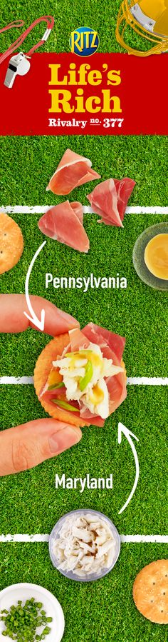 Rivaling teams means delicious ingredient pairings! Match-up Pennsylvania-style sliced prosciutto with Maryland-style lump crab meat for a drool-inducing game time snack. Simply top RITZ Crackers w/ prosciutto, crab meat, honey mustard dressing & chopped green onion. Talk about a palate-pleasing recipe!