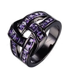 Princess Cut Amethyst Black Gold Finish Men's Unique Knot Design Ring 7 8 9 10 #br925silverczjewelry #KnotDesignRing
