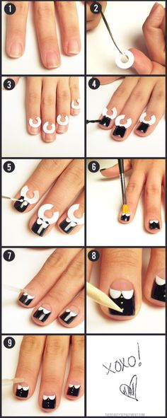 Peter Pan collar nails, my favorite :) http://thebeautydepartment.com/2012/01/mani-monday-2/