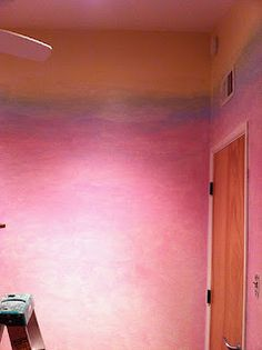 DIY Rainbow Lazure painted walls for Playroom