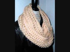 ▶ Infinity Scarf Winter White Cream Color Designer Scarf Handmade Crochet by 2 Sisters Handmade - YouTube