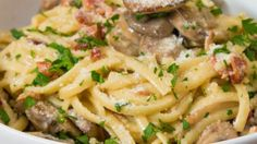 Cook upCheesy Bacon Mushroom Fettuccine. The flavors all come together to make a truly incredible meal t...