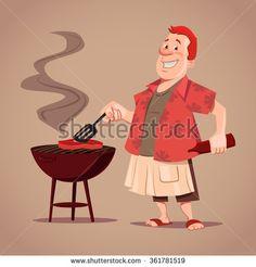 cartoon character, BBQ, chef, outdoor, rest, man cooking meat, vector illustration - stock vector