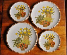 This is a gorgeous set of 2 vintage stoneware dinner plates and 2 salad or lunch plates by Mikasa in the Cache Pots pattern from their