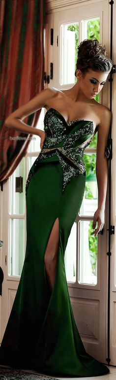 "Green Gown - beautiful ! Thanks, Pinterest Pinners, for stopping by, viewing, re-pinning, & following my boards. Have a beautiful day! ❁❁❁ and""Feel free to share on Pinterest ^..^ #fashionupdates #fashionandclothingblog"