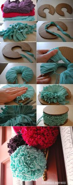 Pom poms. These would be cute to make for the kids Christmas tree!:
