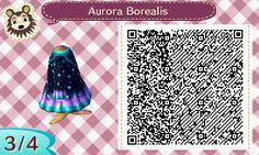 "clochefio: "" Christmas Special: Day 5 It's gonna be Aurora season soon, isn't it? I'm excited to see it for the first time in Animal Crossing! This dress features the night sky with the aurora borealis as the skirt! Others """