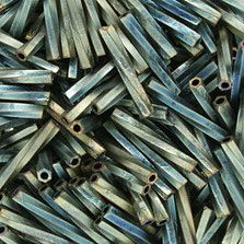 12mm Matte Metallic Sage Green Iris Twisted Bugle Japanese Seed Beads