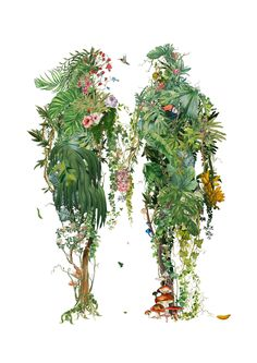 An A2 Giclee print made from over 200 pieces of real floral vintage wallpaper. Limited edition hand glossed & signed. #acoupleswalk #floralart #junglepaintings #iloveyouart