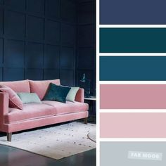 The best living room color schemes - Dark blue, teal, pink mauve Blue Things blue color rgb Good Living Room Colors, Living Room Color Schemes, Home Color Schemes, Living Room Blue, Apartment Color Schemes, Pink Color Schemes, Interior Design Color Schemes, Paint Schemes, Blue Color Rgb