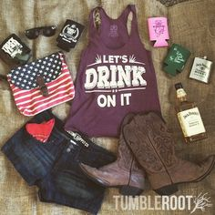 Adorable Let's Drink on It tank top featuring summer country outfit essentials by TumbleRoot. Perfect for every country music festival and concert like Stagecoach, CMA Fest, Faster Horses, and Boots and Hearts. // http://tumbleroot.com