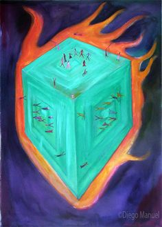 Cubo Magico , acrylic on canvas, 95 x 67 cm. year 2007 .Painting of the Serie Simbolism for sale by artist Diego Manuel