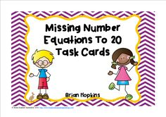 Missing Number Equations Facts to 20 have students finding the missing addend.  Put these on a ring for early finishers or a work station or play the whole game scoot! They can also be used for cooperative learning activities. Answer key and a sheet for students to write the answers is included. There are 24 cards. They are only in black and white.