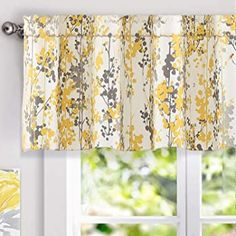 DriftAway Leah Floral Blossom Ink Painting Window Valance Pair - wideth x length wideth x length - Yellow)(Polyester Blend) Yellow Kitchen Accessories, Yellow Curtains, Yellow Kitchen Curtains, Kitchen Chandelier, Home Decor Outlet, Window Curtains, Blue Yellow, Decorating Your Home, Ink Painting