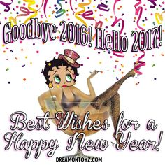 Goodbye 2016! Hello 2017! MORE Betty Boop Images http://bettybooppicturesarchive.blogspot.com/  ~And on Facebook~ https://www.facebook.com/bettybooppictures   Betty Boop wearing a top hat, celebrating the New Year in a giant glass of champagne #Greeting