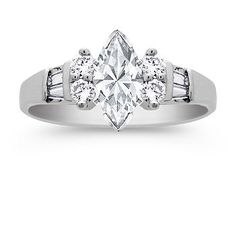 Round and Baguette Diamond Engagement Ring with Marquise Diamond