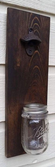 Pallet Bottle Opener with Mason Jar