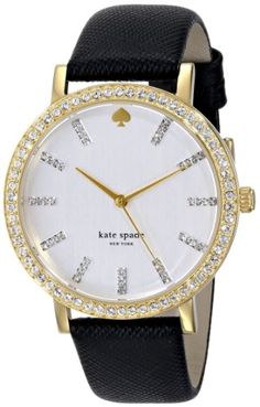 kate spade new york Womens 1YRU0445 Metro Grand Crystal-Accented Watch with Black Leather Band