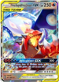 Primal Kyogre and Primal Groudon GX by KnightofDust Pokemon Go, Groudon Pokemon, Fake Pokemon Cards, Pokemon Cards Legendary, Pokemon Tcg Cards, Pikachu Art, Pokemon Eeveelutions, Pokemon Trading Card, Charizard