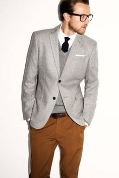 gray suit jacket brown pants - Google Search