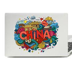 China Illustration Laptop Skin Sticker Line Shopping, Drawing For Kids, Laptop Stickers, Laptop Skin, Drawstring Backpack, Vinyl Decals, Illustration, Backpacks, Graphic Design