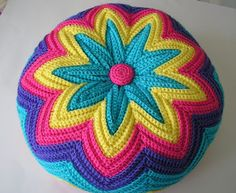 razzamatazz cushion, 70's crochet, Golden Hands, psychedelic, groovy, justjen-knits&stitches A craft blog about tea cosies, knitting, crochet, stitching, vintage collecting, free tea cosy & toy patterns. Brisbane Australia, teapot, cozy.