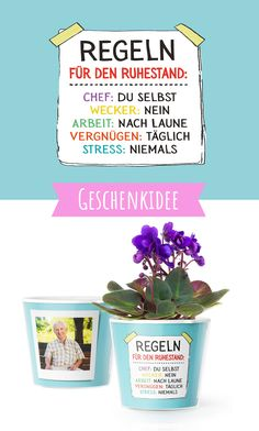 Lustige Ruhestand Geschenke Funny retirement gifts made easy: with two photos of the soon-to-be pensioner or work colleague and this flowerpot, a nice farewell gift at the start of retirement is ready Funny Retirement Gifts, Farewell Gifts, Picture Gifts, Boyfriend Birthday, Boyfriend Gifts, Kids And Parenting, Gifts For Dad, Flower Pots, Save Yourself