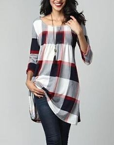 Look at this Red & White Plaid Pin-Tuck Empire-Waist Tunic Dress Plus Size Women's Tops, Blouses For Women, Women Tunic, Mode Hijab, Long Sleeve Tunic, Ruffle Sleeve, Long Blouse, Mode Style, Printed Blouse