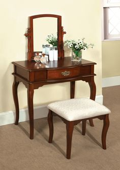 """Hokku Designs Coreen Vanity w/ Cabriole Legs, Mahogany Finish on Hardwood & a Stool with the same features, - 30.25""""H x 14.75""""D x 32""""W -"""