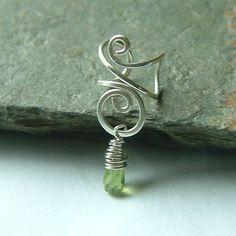 Silver Ear Cuff Sterling Silver Wire Wrapped Peridot by ArtistiKat, $14.95