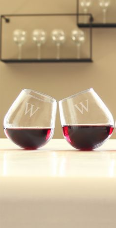 Savoring your favorite varietal is, now, not only an enjoyable, but fun, experience when toasting with our Set of Four Personalized Stemless Tipsy Wine Glasses.