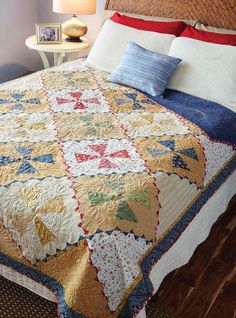 Get the illusion of Prairie Points in this twin, bed-size quilt pattern. Kaleidoscope blocks are set on point and framed by triangles for a unique setting.