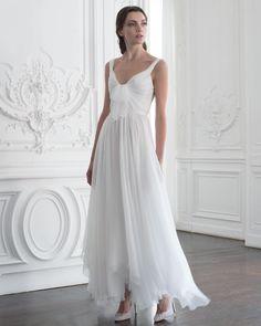 Paolo Sebastian: – Silk chiffon tea- length dress with bow detail Fall Wedding Dresses, Prom Dresses, Long Dresses, Paolo Sebastian Bridal, Dress Vestidos, Tea Length Dresses, Dress With Bow, Silk Chiffon, Look Cool