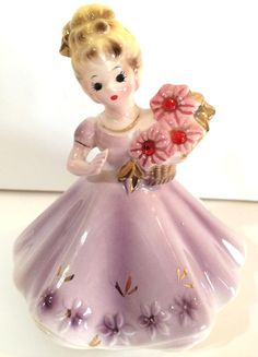 Vintage Josef Originals July Ruby Rhinestone Birthstone Porcelain Doll Figurine | eBay