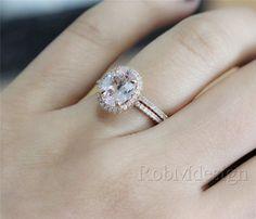 14K Rose Gold 2PCS Morganitr Engagement Ring Set VS by RobMdesign