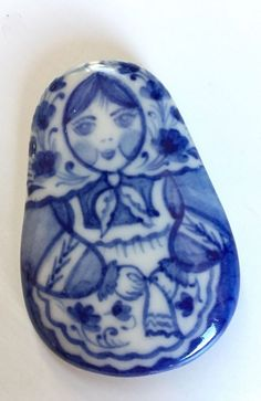 Vtg Folk Jewelry Russian Babushka Matryoshka Blue Porcelain pin brooch  | eBay