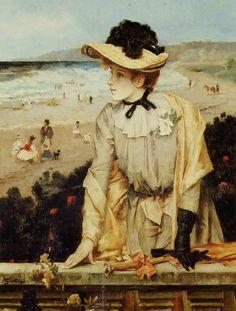 """Alfred STEVENS (1823-1906) - """"Jeune Femme à la plage"""" ou """"La Parisienne"""" - Oil on canvas, 1880-1890 - Private collection"""