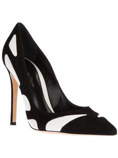 GIANVITO ROSSI - black & white suede pointed toe pump