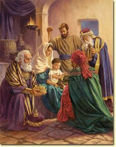 Visit of the Wise Men.  This is from the beliefs of the LDS religion that Christ was a young child not a new born babe.
