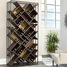 Laiton Brass Wood And Iron Wine Rack - Wine Enthusiast Wine Rack Storage, Wine Rack Wall, Wood Wine Racks, Wine Wall, Wine Bottle Storage, Wine Bottle Rack, Custom Wine Racks, Diy Wine Racks, Industrial Wine Racks