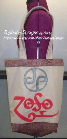 "Led Zeppelin Zoso JP Brown Tote Bag Brown Bag with Dark Beige JP and Red Zoso letters Appliqued Made out of cotton fabric and felt letters 15""x17"" Bag / 26"" Strap  https://www.etsy.com/shop/ZepbabeDesign"