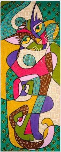 cat folk art by Sedef Yılmabaşar Ertugan♥•♥•♥ (pin only read as 'folk art')