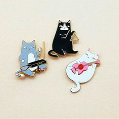 Cat Band Pins by Natelle Draws Stuff