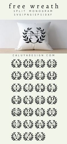 FREE wreath split monogram SVG cut file, Printable vector clip art download. Free printable clip art leaf monogram. Compatible with Cameo Silhouette, Cricut explore and other major cutting machines. 100% for personal use, only $3 for commercial use. Perfe