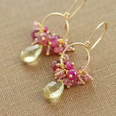 Orecchini cerchio di pietre dure oro giallo rosa quarzo