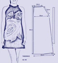 vamos combinar: MOLDES VESTIDOS TIPO TÚNICAS Fashion Sewing, Diy Fashion, Sewing Clothes, Diy Clothes, Sewing Hacks, Sewing Tutorials, Clothing Patterns, Sewing Patterns, Clothing Store Displays